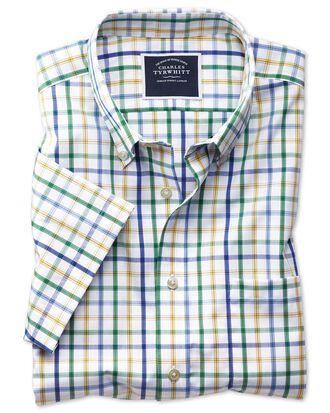 Chemise verte en popeline slim fit à carreaux, manches courtes et col boutonné sans repassage