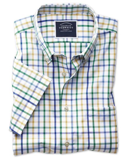 Slim fit button-down non-iron poplin short sleeve green multi check shirt