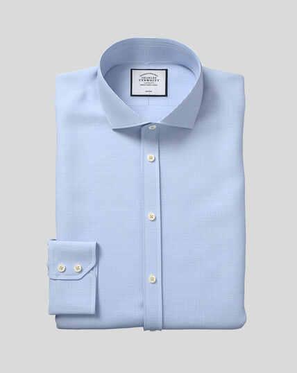 Cutaway Collar Non-Iron Puppytooth Shirt  - Sky