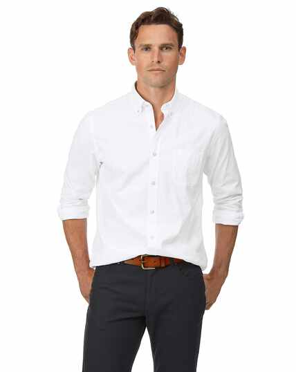 Slim fit white button-down washed Oxford plain shirt