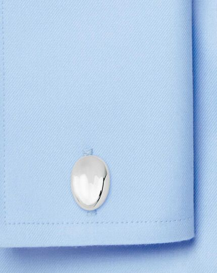Silver dipped oval metal cufflinks