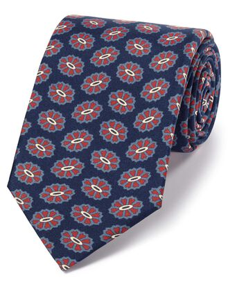 Navy silk medallion print English 7-fold luxury tie