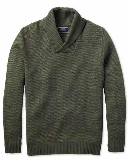Olive shawl collar jacquard jumper