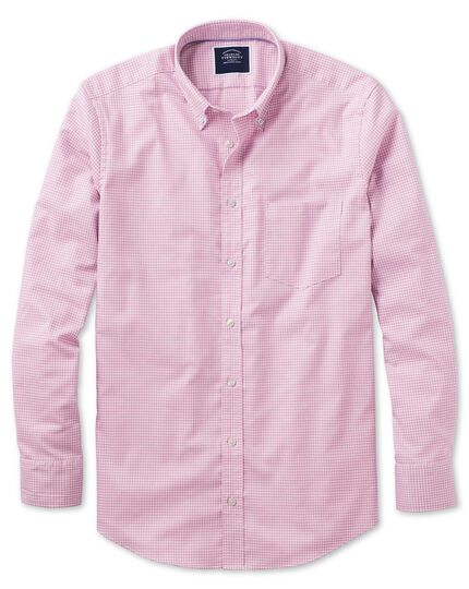 Classic fit pink gingham soft washed non-iron stretch shirt