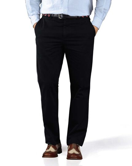 Navy slim fit flat front washed chinos