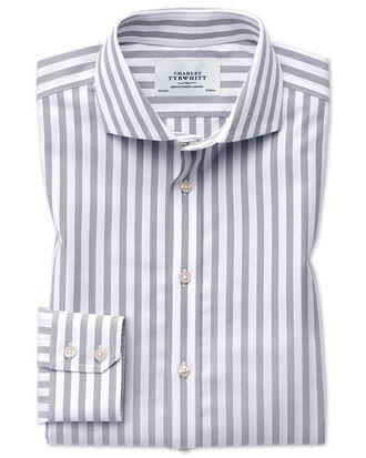 Slim fit cutaway non-iron wide stripe grey shirt