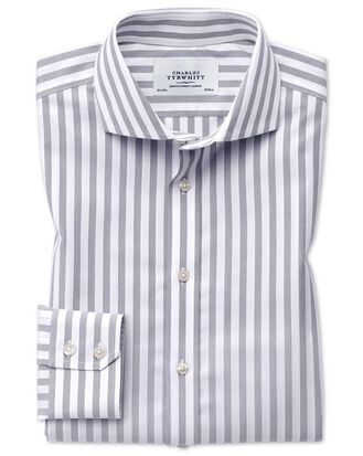 Slim fit spread collar non-iron wide stripe grey shirt