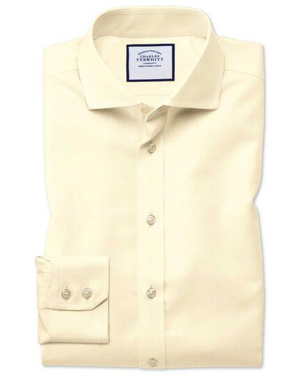 Slim fit spread collar non-iron twill yellow shirt