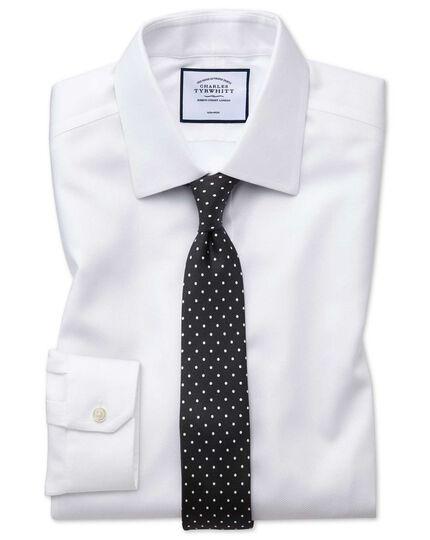 Super slim fit non-iron white arrow weave shirt