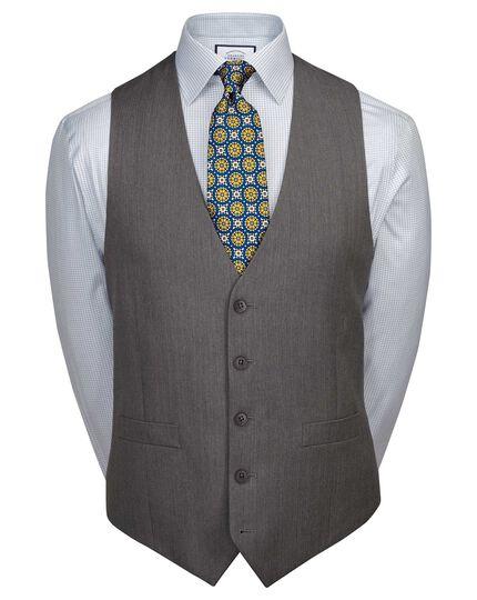 Light grey adjustable fit herringbone business suit waistcoat