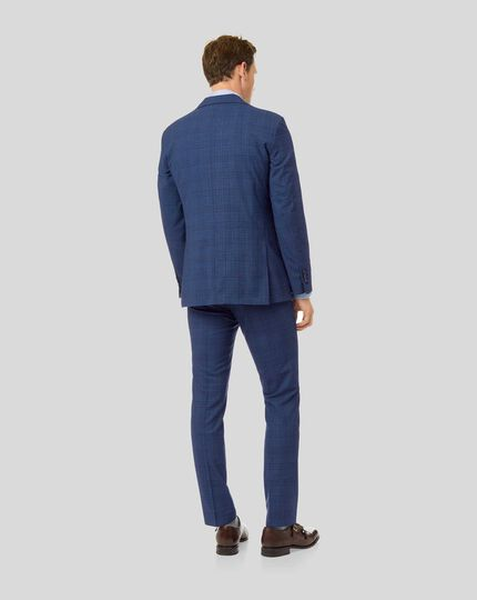 Merino Check Business Suit - Blue
