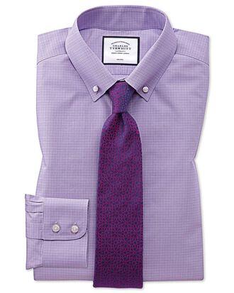 Chemise lilas à carreaux Prince de Galles et col boutonné slim fit sans repassage