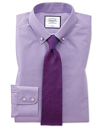 Slim fit button-down non-iron lilac Prince of Wales check shirt
