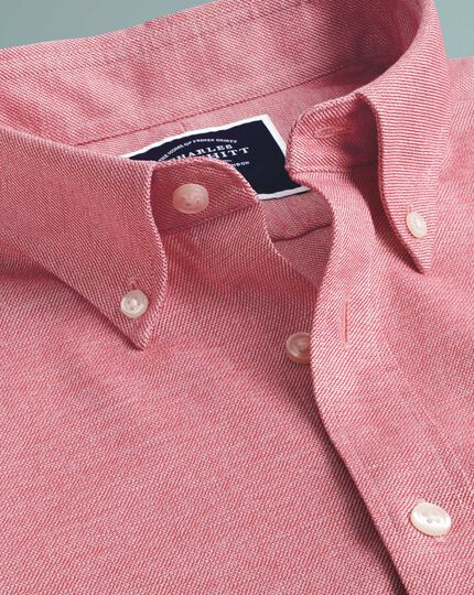 Slim fit light red plain soft washed non-iron twill shirt