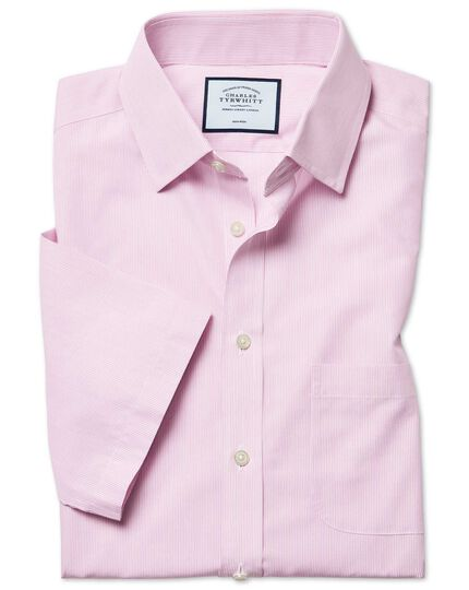 Chemise rose en popeline Tyrwhitt Cool slim fit à rayures et manches courtes sans repassage