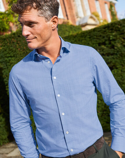 Business Casual Collar Slub Shirt - Blue