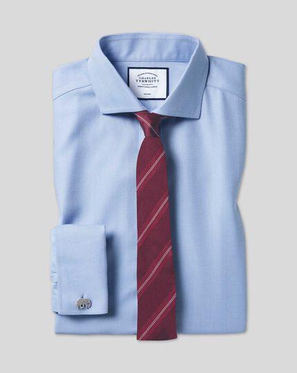 Cutaway Collar Non-Iron Herringbone Shirt  - Sky