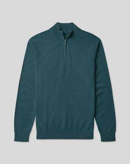 Cashmere Zip Neck Sweater - Teal