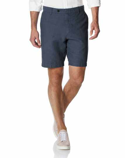 Airforce blue cotton linen shorts