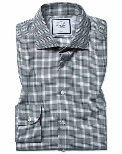 Chemise naturellement stretch grise à carreaux Prince de Galles slim fit sans repassage