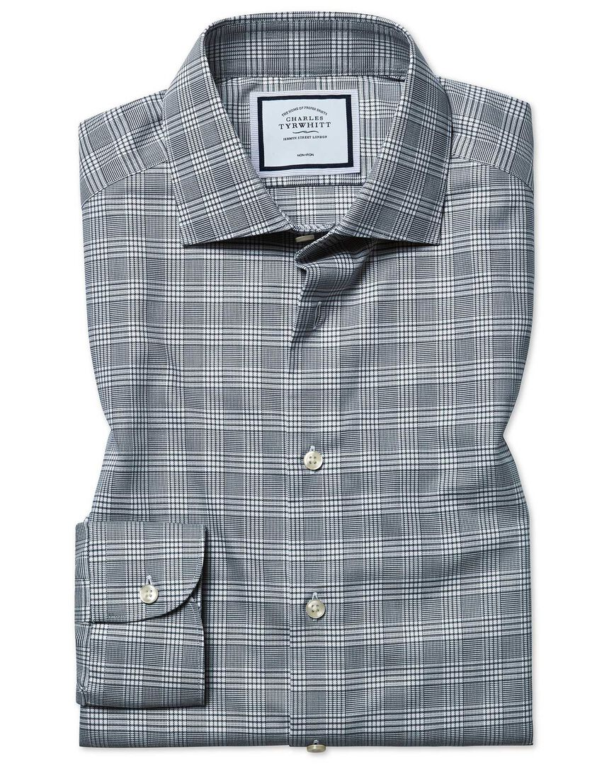 Slim fit non-iron natural stretch Prince of Wales check grey shirt