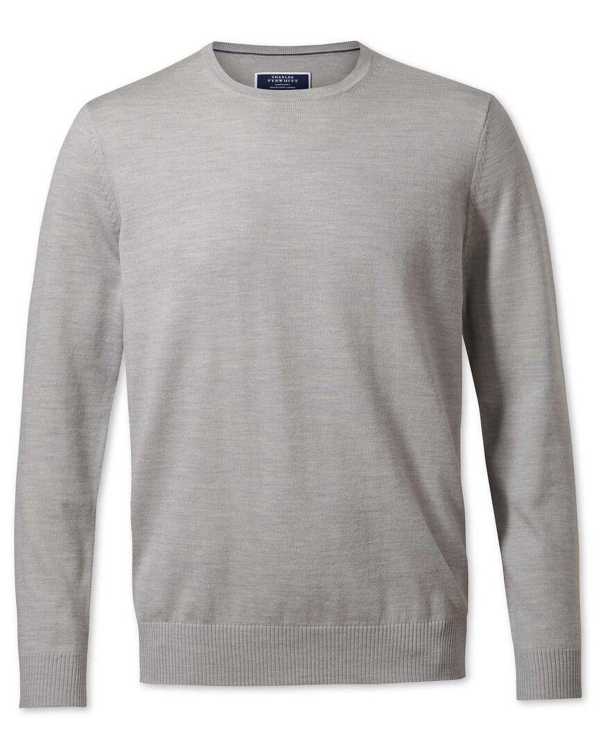 Silver merino wool crew neck jumper