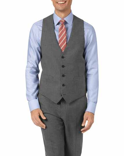 Charcoal adjustable fit Panama puppytooth business suit waistcoat