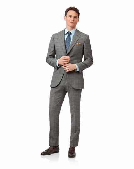Grey Prince of Wales slim fit British luxury suit