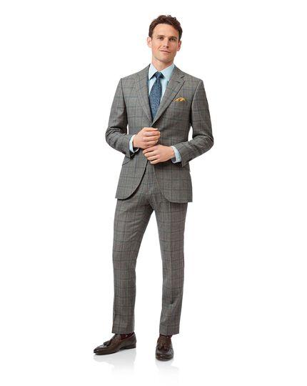 Costume de luxe en tissu britannique gris à carreaux Prince de Galles slim fit