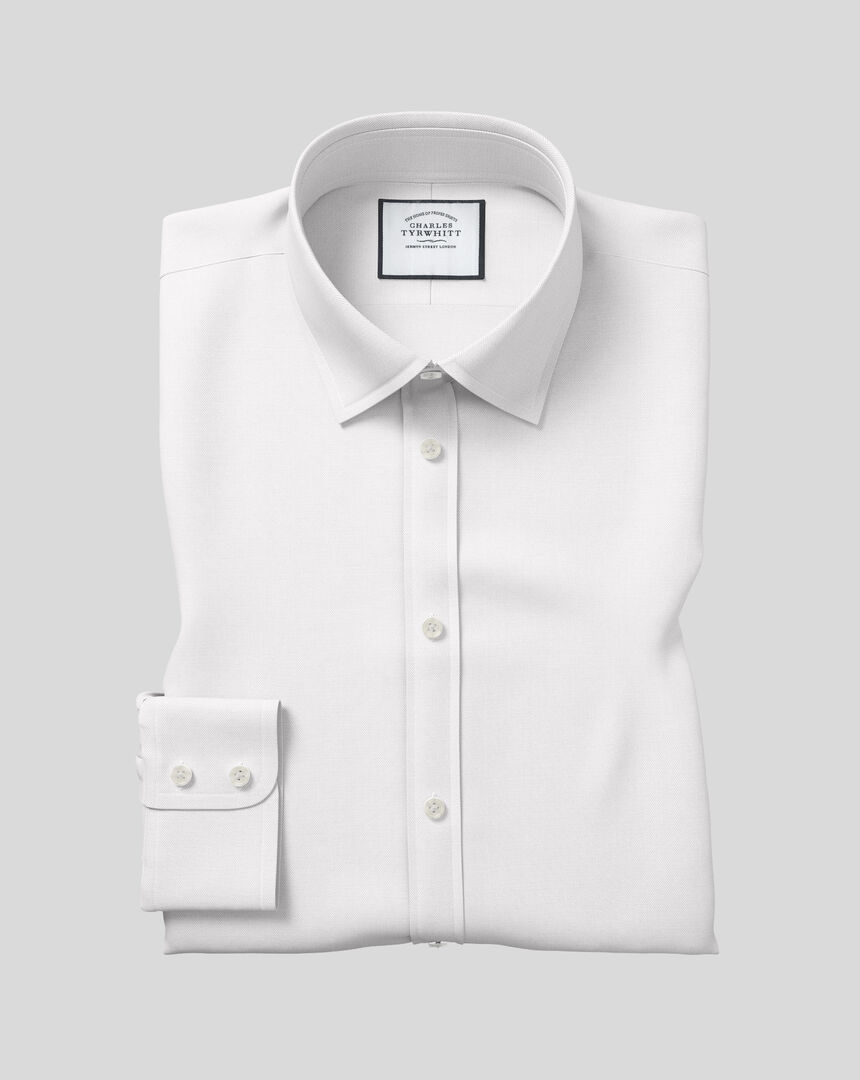Classic Collar Egyptian Cotton Herringbone Shirt - White