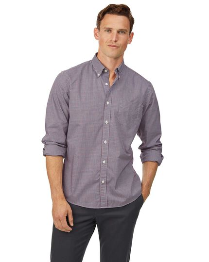 Slim fit red and blue check soft washed non-iron stretch poplin shirt