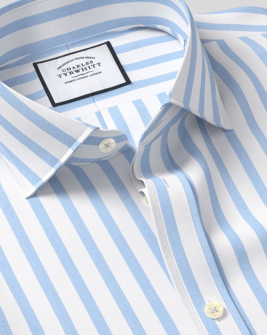 Cutaway Collar Cotton Stretch with TENCEL™ Stripe Shirt - Sky