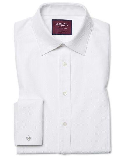 Chemise de soirée blanche en piqué luxueux extra slim fit