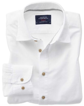 Slim fit popover twill off-white shirt