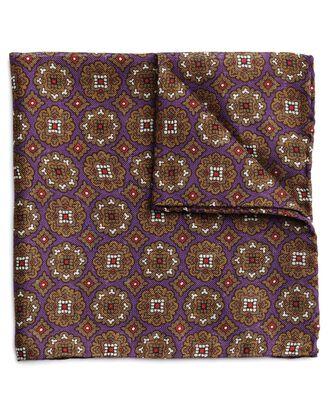 Italienisches Einstecktuch aus Wolle und Seide mit Motiv in Violett und Oliv