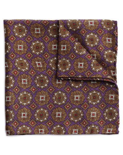 Purple and olive wool silk motif print Italian pocket square