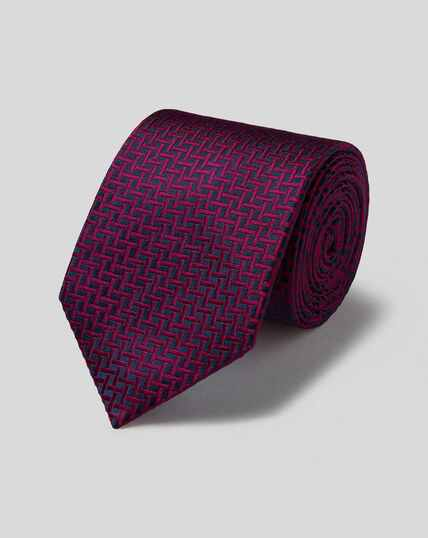 Silk Large Lattice Stain Resistant Classic Tie - Navy & Pink