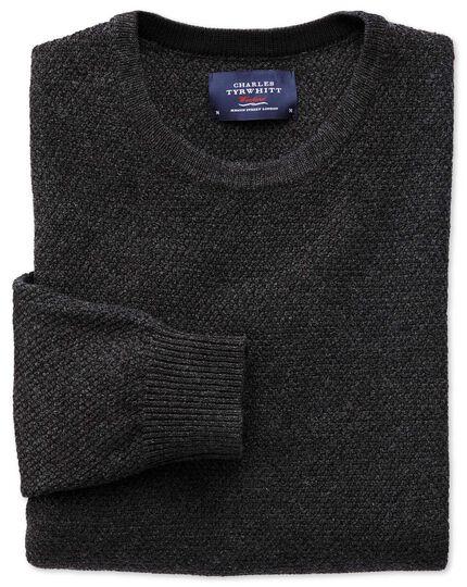 Charcoal merino cotton crew neck jumper