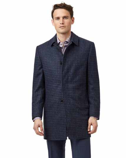 Blue with red overcheck dogstooth wool car coat