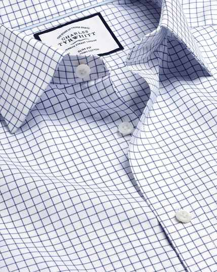 Semi-Spread Collar Egyptian Cotton Twill Check Shirt - Royal Blue
