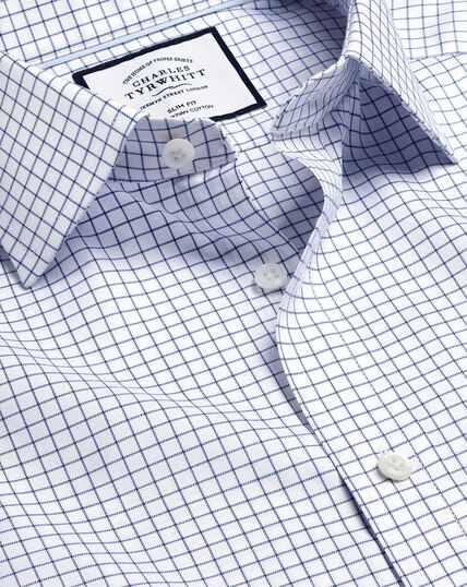Twill-Hemd aus ägyptischer Baumwolle mit Semi-Haifischkragenund Karos - Königsblau
