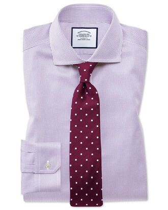 Super slim fit spread collar non-iron puppytooth lilac shirt