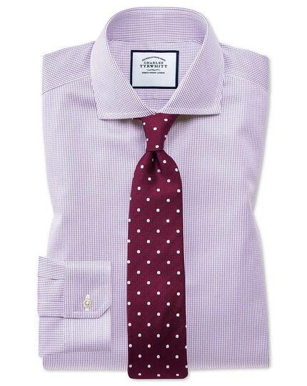 Super slim fit cutaway non-iron puppytooth lilac shirt
