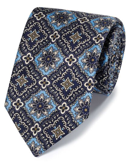 Blue and navy mosaic floral silk English luxury tie