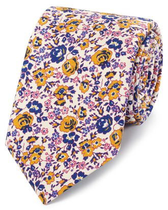 Gold multi silk floral print Italian luxury tie