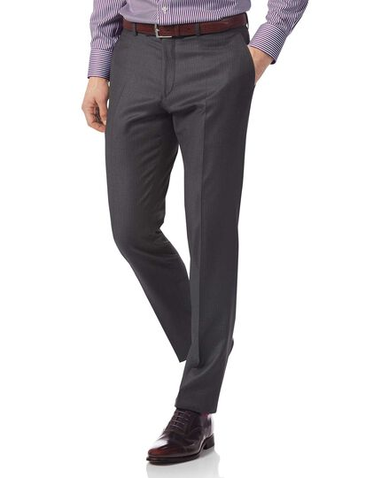 Grey slim fit Italian stripe suit pants