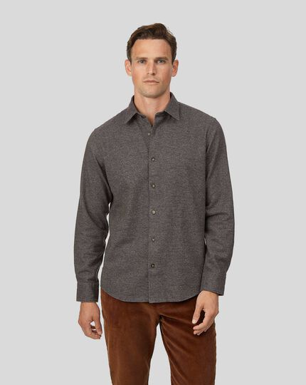 Winter Flannel Puppytooth Shirt - Brown