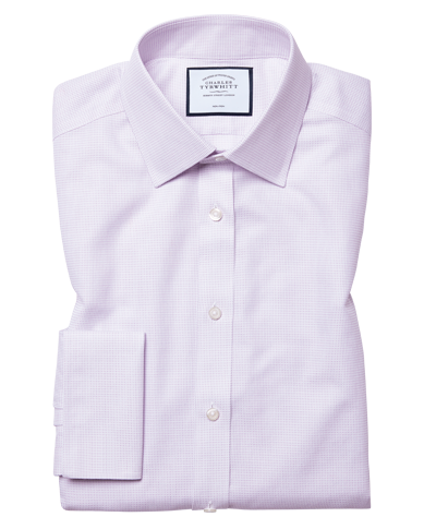 Slim fit non-iron dash weave lilac shirt