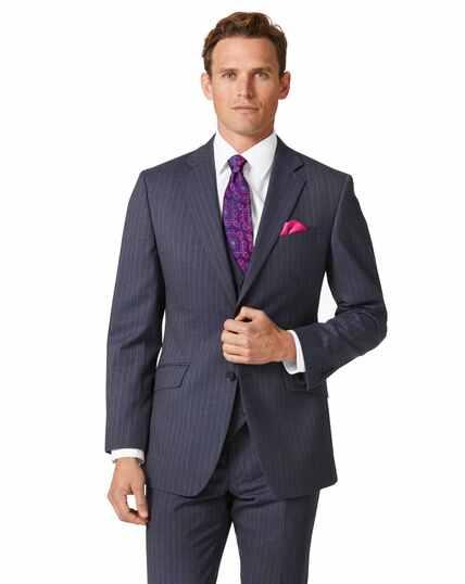 Veste de costume business bleu acier en panama slim fit à rayures