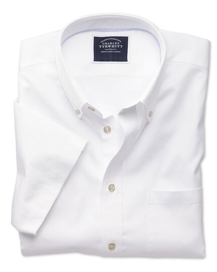 Classic fit white washed Oxford short sleeve shirt